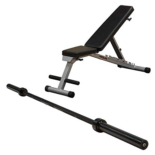 Body Solid Powerline Flat Folding Home Gym Multi-Bench Press w/ Olympic Barbell