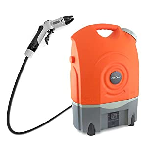 Pure Clean Outdoor Portable Spray Pressure Washer Cleaner System Built in Rechargeable Batteries -Easy carrying wheels - Vehicle Car Plug Included