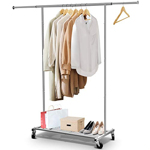 Simple Trending Clothing Garment Rack, Heavy Duty Capacity 150 lbs Commercial Grade with Wheels and Lower Storage Shelf, Extendable (Maximum 64.5