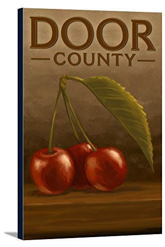 Door Cherry Four - Door County, Wisconsin - Cherries - Oil Painting (24x36 Gallery Wrapped Stretched Canvas)