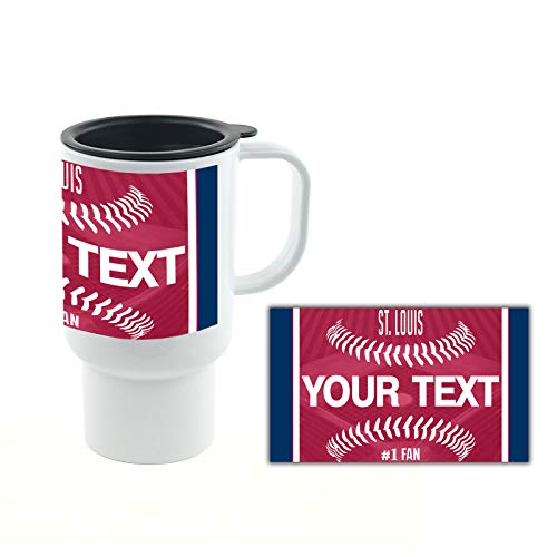 (BRGiftShop Personalized Custom Name Baseball Team St. Louis 18oz Travel Mug with Lid)