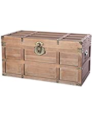 Wooden Rectangular Lined Rustic Storage Trunk with Latch