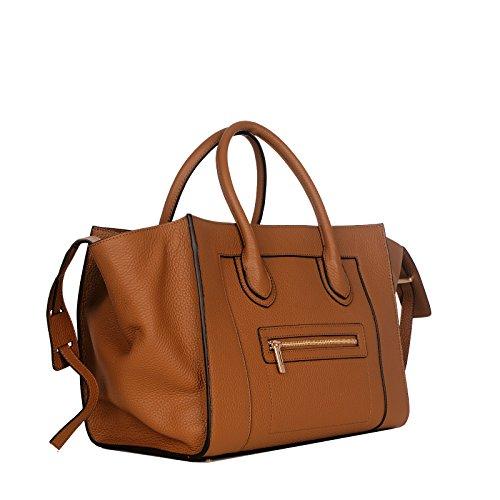 ROUVEN Matte Fauve Cognac Gold Marron Brun & Gold MAYDLEN TRAPEZE CHYC Tote Bag sac fourre-tout sac en cuir pleine sac à main dames noble classiques grande moderne (L35xH25xT19 cm)