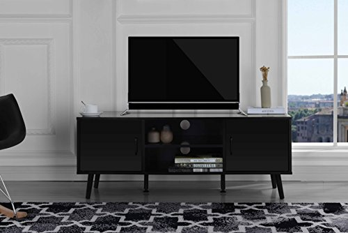 Divano Roma Furniture Mid Century Modern TV Stand (Black)