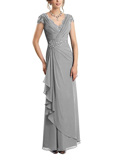 CJMY Women's A-Line V-Neck Sleeveless Formal Gown Chiffon Lace Sheath Bodice Fashion Mother Formal Evening Party Dress Silver 12