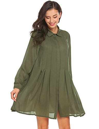 Zeagoo Women's A line Button Flare Hem Patchwork Shirt Collared Dress Olive Green