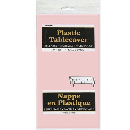 "Plastic Tablecloth, 108"" x 54"", Light Pink"
