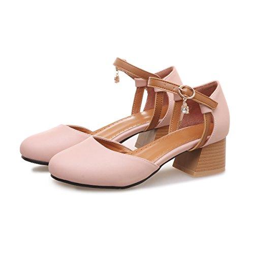 CXQ-Heels QIN&X Frauen Runder Block High Heels Flache Mund Prom Sandalen Schuhe Pumps Pink Red