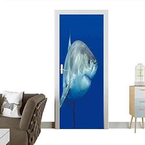 Homesonne Door Decals A Great White Shark Swimming at Guadalupe Island Looking for Food. Pressure Resistant W23 x H70 INCH