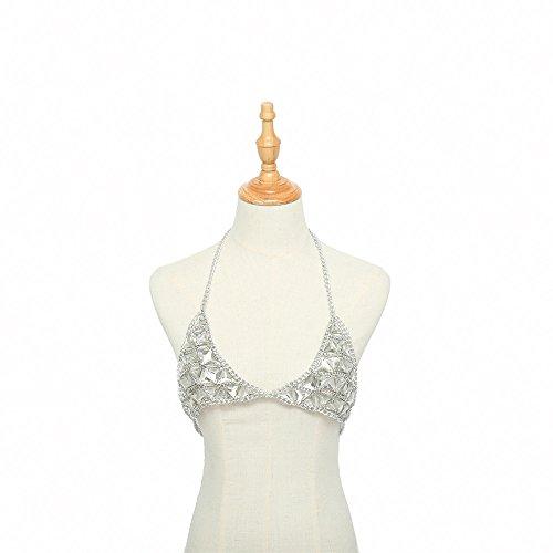 (Malltop Shawn Womens Diamond Sexy Chain Necklace Triangle Summer Bikini Bra Accessories Beach Party Body Jewelry)