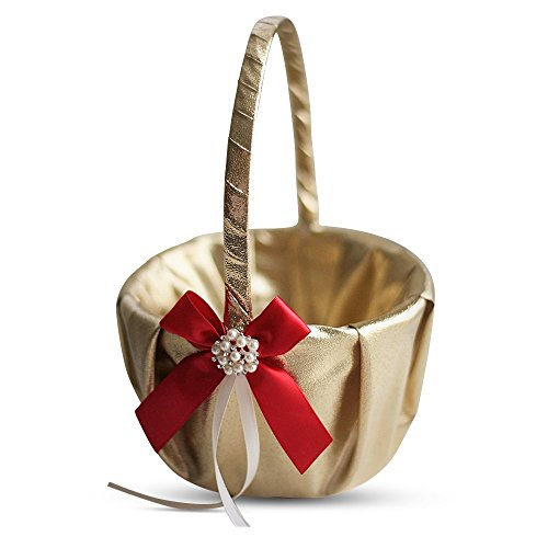 - Alex Emotions Gold & RED Wedding Ring Bearer Pillow and Flower Girl Basket Set – Satin & Ribbons – Pairs Well with Most Dresses & Themes – Splendour Every Wedding Deserves