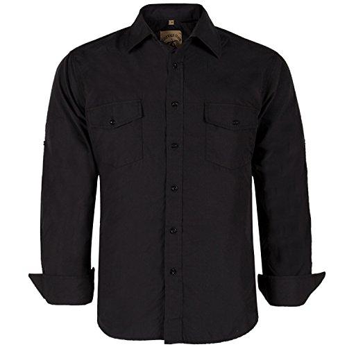 (Coevals Club Men's Button Down Long Sleeve Work Casual Shirt (#4 Black, XXL Button))