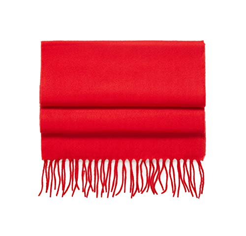 2 PLY 100% Cashmere Winter Scarf Elegant Collection Made in Scotland Warm Soft Wool Solid Plaid (Solid Red)