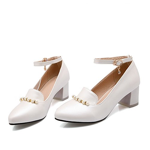 Heels Buckle Kitten Women's Pumps Shoes Toe Pu WeiPoot White Pointed Closed Solid CqUtB55wE