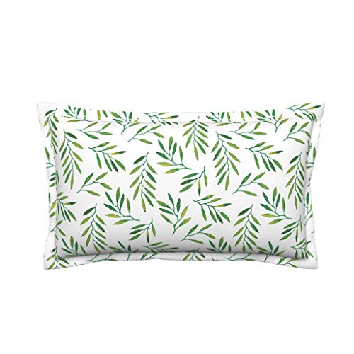 Roostery Willow Organic Cotton Sateen Lumbar Pillow Cover Leaves Leaf Green Tropics Tropical Palm by Jillbyers Flanged Cover w Optional Insert ()
