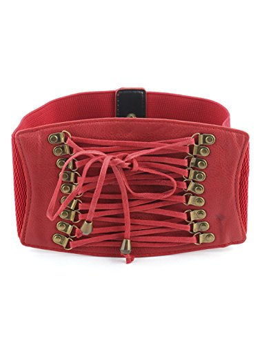 Edging Waist Wide uxcell Double Red Textured Elastic Belt Closure Woman 6qfqtH
