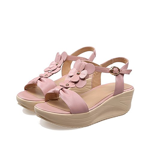 Heels Sandals Material Womens Open AmoonyFashion Kitten Toe Buckle Solid Pink Soft Hw1pIgq