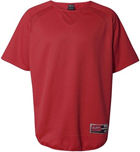 Rawlings Adult Flatback Mesh Short Sleeve Fleece Pullover (Red) (XL) (Fleece Pullover Mesh)