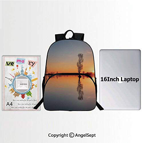 School Backpack Casual Daypack Travel Outdoor,Silhouette of Single Tree over Still Lake Basin with Last Sun Rays on the Day Theme 15.7