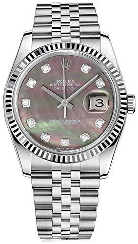 - Rolex Datejust 36 116234 Dark Mother of Pearl Diamond Dial Watch