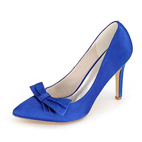 L@YC Frauen High Heels Feine Ferse F0608-02 Plattform Bogen Hochzeit & Nacht / Elfenbein Rot Blau # Blue