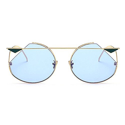 Vacation la Mujeres Protección 2 para UV Sunglasses Peggy Libre Personalidad Aire al Beach Rosado Summer Rimmed Gu Color Azul Metal Conducción Eyes Cat para zxWq7gx4T