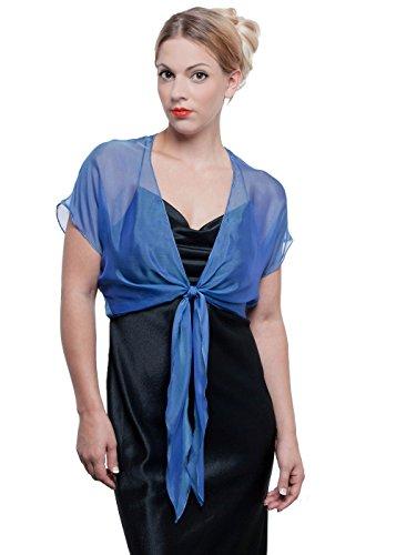 GALA Silk Chiffon Evening Shrug by Lena Moro (M-L, Royal Blue 305)