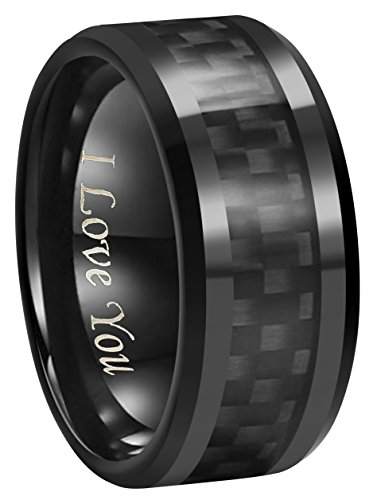 6mm 8mm 10mm Black Carbon Fiber Black Tungsten Carbide Wedding Band Ring Engraved