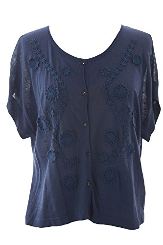 August Silk Women's Floral Knit Short Sleeve Cardigan Large Denim ()