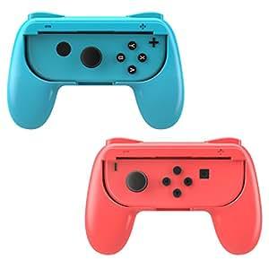 MoKo Grip for Nintendo Switch Joy-Con, 2-Pack [Ergonomic Design] Wear-Resistant Game Controller Handle Kit for Nintendo Switch Joy-Con ( Red and Blue )