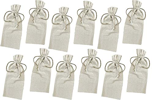Georgiabags Set of 12 Natural Linen Wine Bags with Drawstrings,Perfect for Wedding Favor Bags,Party, Promotional
