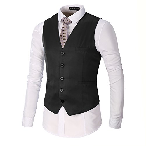 AOQ Men's Casual Slim Fit Business Suit Vests Waistcoat for Suit or Tuxedo (S, - Tuxedo Black Vested
