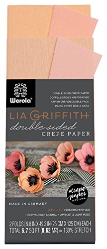 - Lia Griffith Double Sided Crepe Paper Folds Roll, 6.7-Square Feet, Honeysuckle and Coral, Apricot and Light Rose (LG11020)