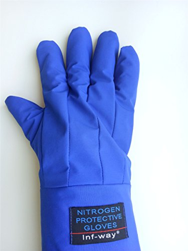 Inf-way 4 Sizes Long Cryogenic Gloves Waterproof Low Temperature Resistant LN2 Liquid Nitrogen Protective Gloves Cold Storage Safety Frozen Gloves (Blue Large) by Inf-way (Image #6)
