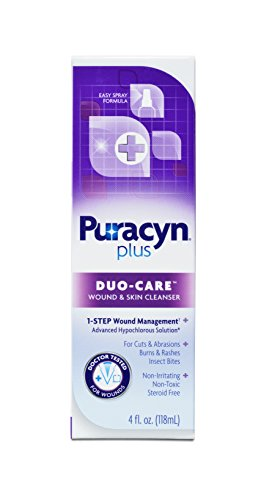 (Puracyn Plus Wound and Skin Cleanser – Wound Care Spray for cuts, scrapes, minor sores, minor burns, and other skin irritations – 4-ounce)