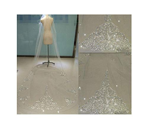 3M Cathedral Lace Wedding Veil White Ivory Rhinestone Sequins Bling Bride Bridal Veil Comb,White
