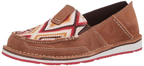 Ariat Women's Women's Cruiser Moccasin, New Earth Suede/red Aztec, 8.5 B US ()