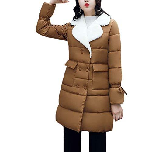 Largas Invierno Casuales Largo Caliente Colores Día Elegantes Otoño Outdoor Acolchado Brown Sólidos Manga Parka Espesar Mujer De Transición Abrigo Outerwear Fwt0Pq1