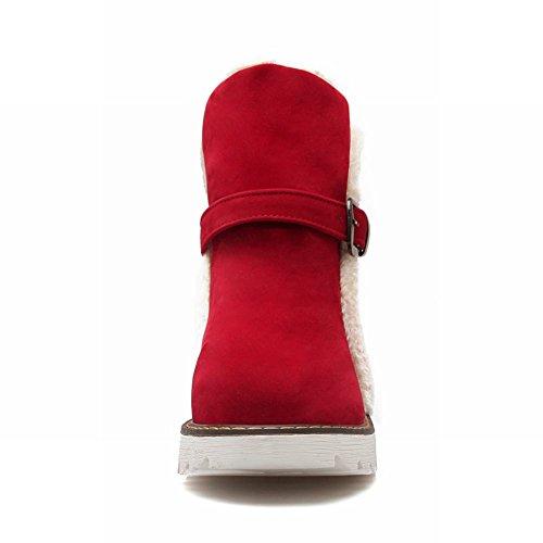 Red Womens Fashion Snow Christmas Warm Faux Boots Carolbar Comfort Fur Gift Buckle wgYfwqnP