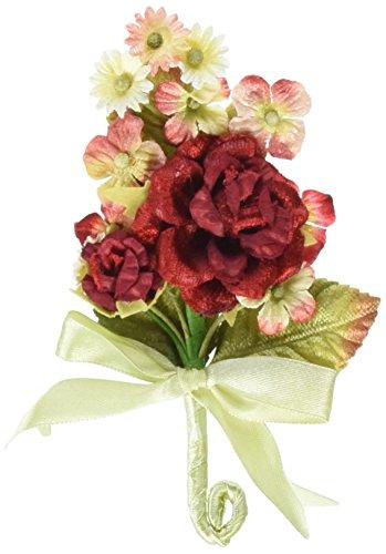 (Prima 539580 Debutantes Miniature Fabric Flower Bouquet, Rouge)
