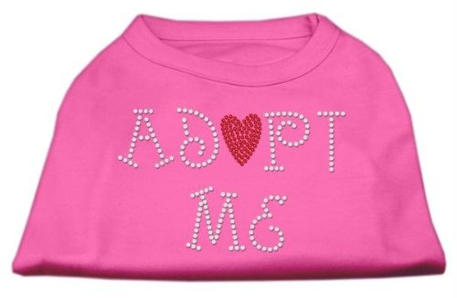 Mirage Pet Products 10-Inch Adopt Me Rhinestone Print Shirt for Pets, Small, Bright Pink