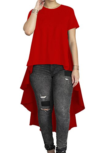 Women's Casual Chic Blouse Short Sleeve Round Neck Dovetail Hem T-Shirt Red, Red, (Design Short Sleeve T-shirt)