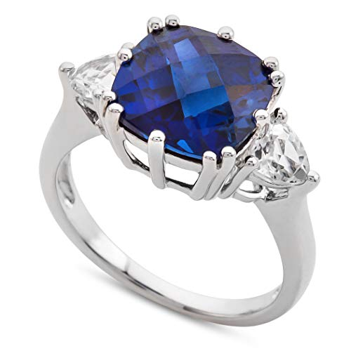 Finejewelers 10x10mm Cushion Shaped Created Blue Sapphire and Created White Sapphire Ring Size 6
