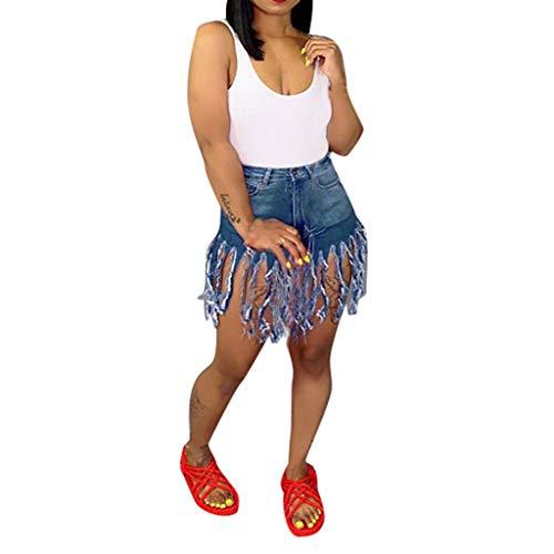 Jumaocio Shorts Women's Juniors Denim Shorts, High Waisted Frayed Raw Hem Tassels Short Pants Jeans Summer Pockets Wash Denim Hot Pants