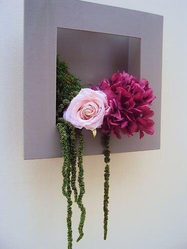 CADRE TABLEAU VEGETAL HORTENSIA ROSE fleurs naturelles préservées  stabilisées Amazon.fr Cuisine \u0026 Maison