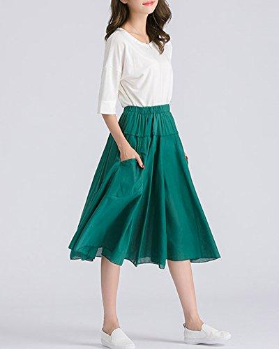 Longueur L' Pour Avec Vert Pliss Jupe Taille Fonc Poche Genou Jupe Casual Femme Haute qcARwxXApP
