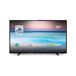 Philips 58PUS6504/12 58-Inch 4K UHD Smart TV with HDR 10+, Dolby Vision, Dolby Atmos, Smart TV – Black (2019/2020 Model)