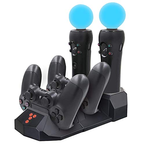 YOUSHARES Quad Charging Station for PS Move Motion and PS4 Controller of Sony Playstation 4 PS4 Slim PS4 Pro (Quad ()
