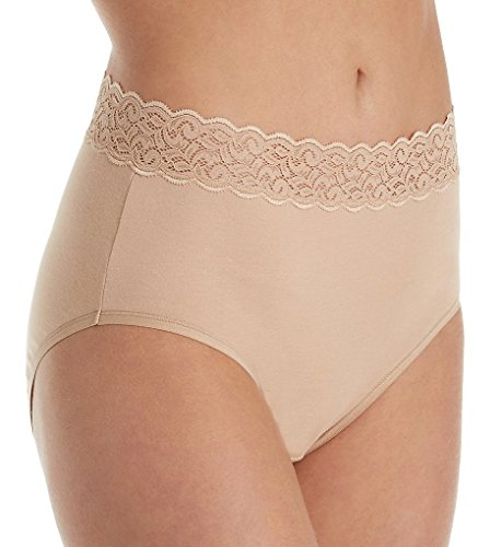 Vanity Fair Stretch Briefs (Vanity Fair Women's Flattering Lace Cotton Stretch Brief Panty 13396, Honey Beige, Large/7)