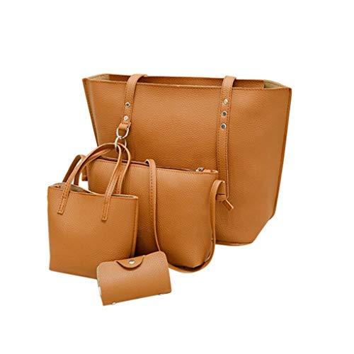 Zipper Wallet Womens Leather Bag BROWN Crossbody Shoulder Handbag 4Pcs Bag Solid Bafatretk Small 1XqwWggca